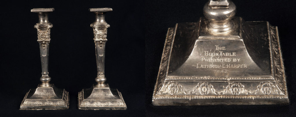 Inscribed silver candlesticks